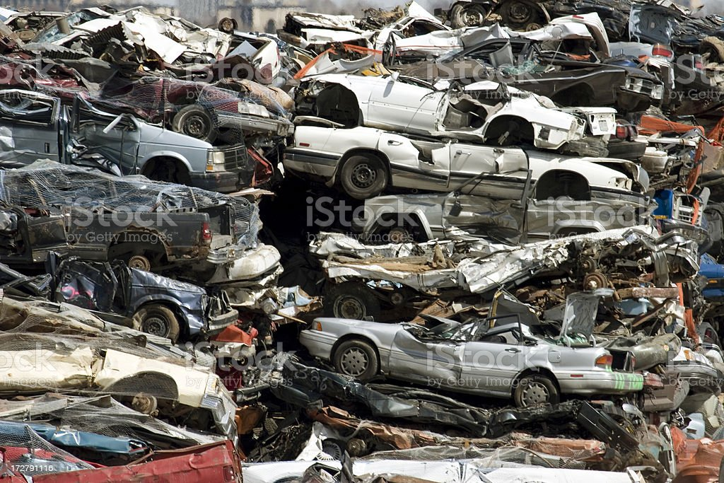 Cars and Trucks in a recycle pile Denver, Colorado royalty-free stock photo