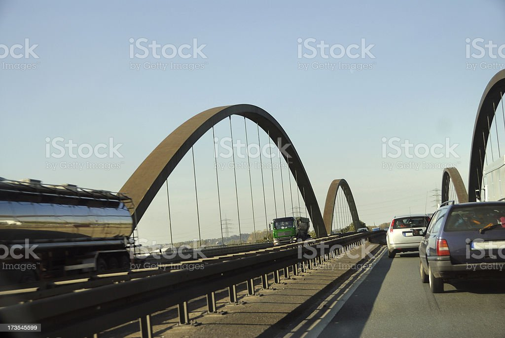 cars and trucks on highway royalty-free stock photo