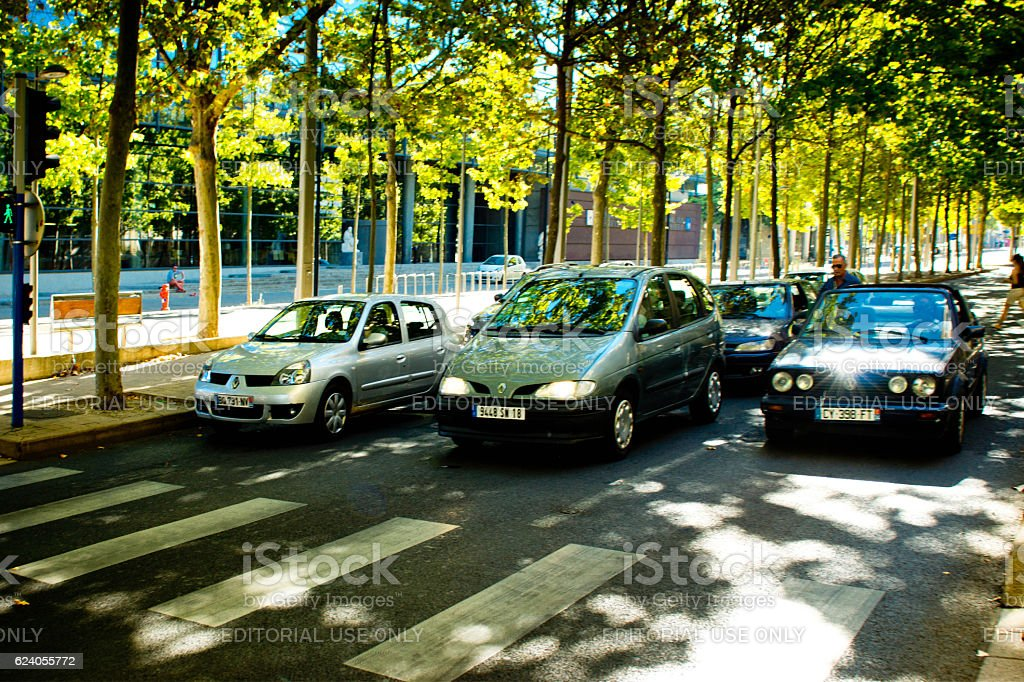 Cars at a zebra crossing in Montpellier stock photo