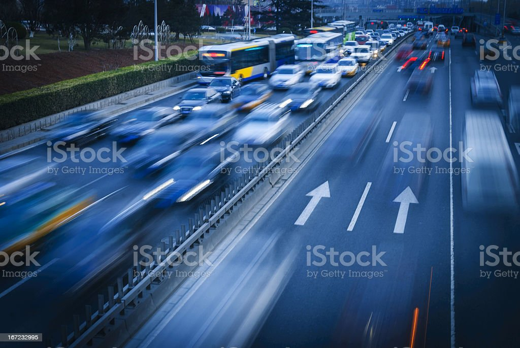 cars at night with motion blur. royalty-free stock photo