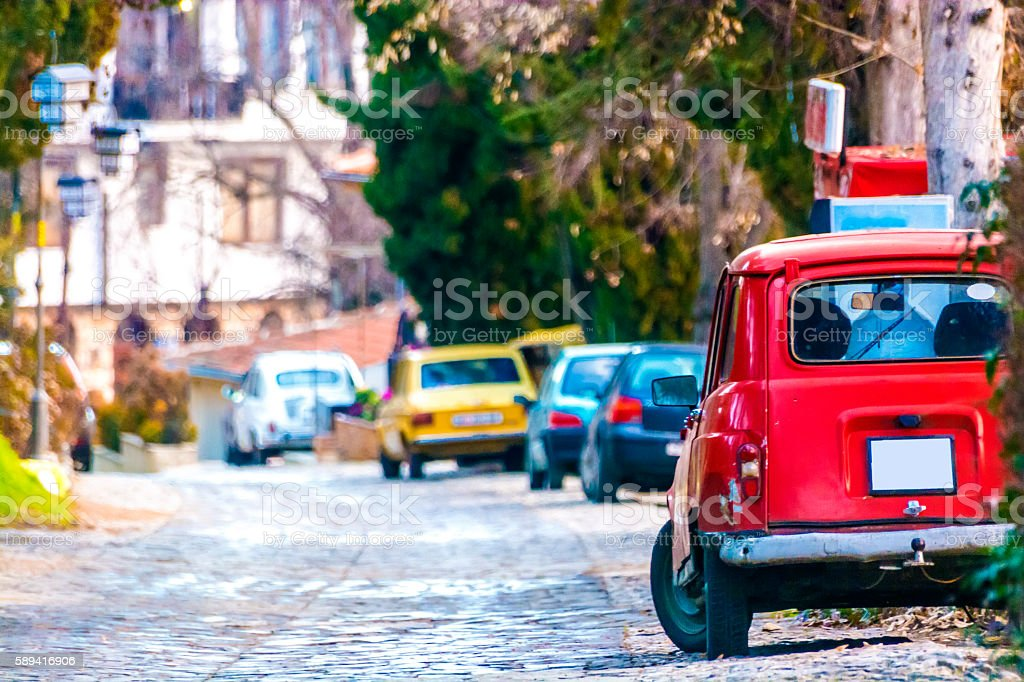 Cars at Ohrid streets stock photo