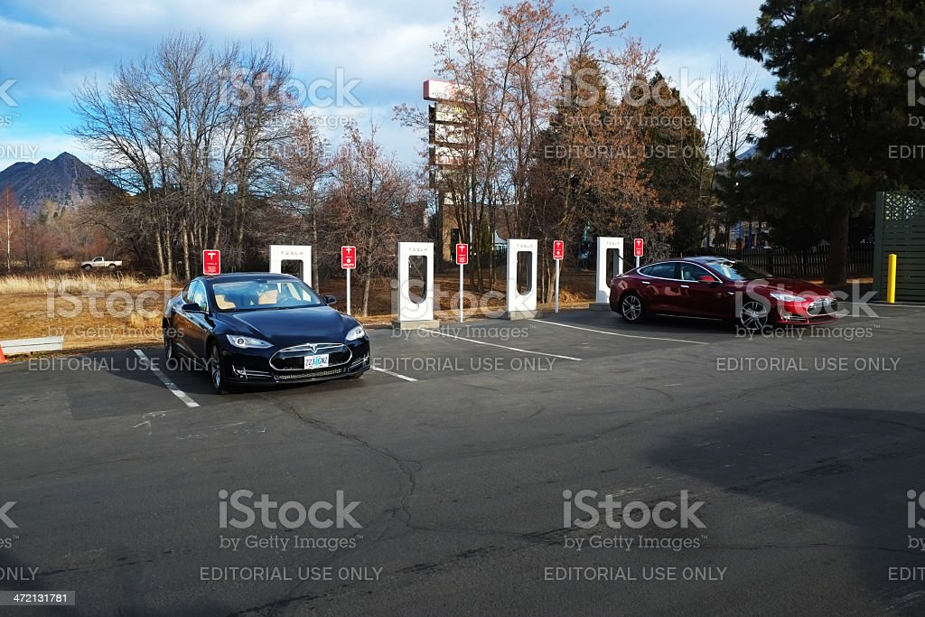 Cars at Tesla Supercharger Station royalty-free stock photo