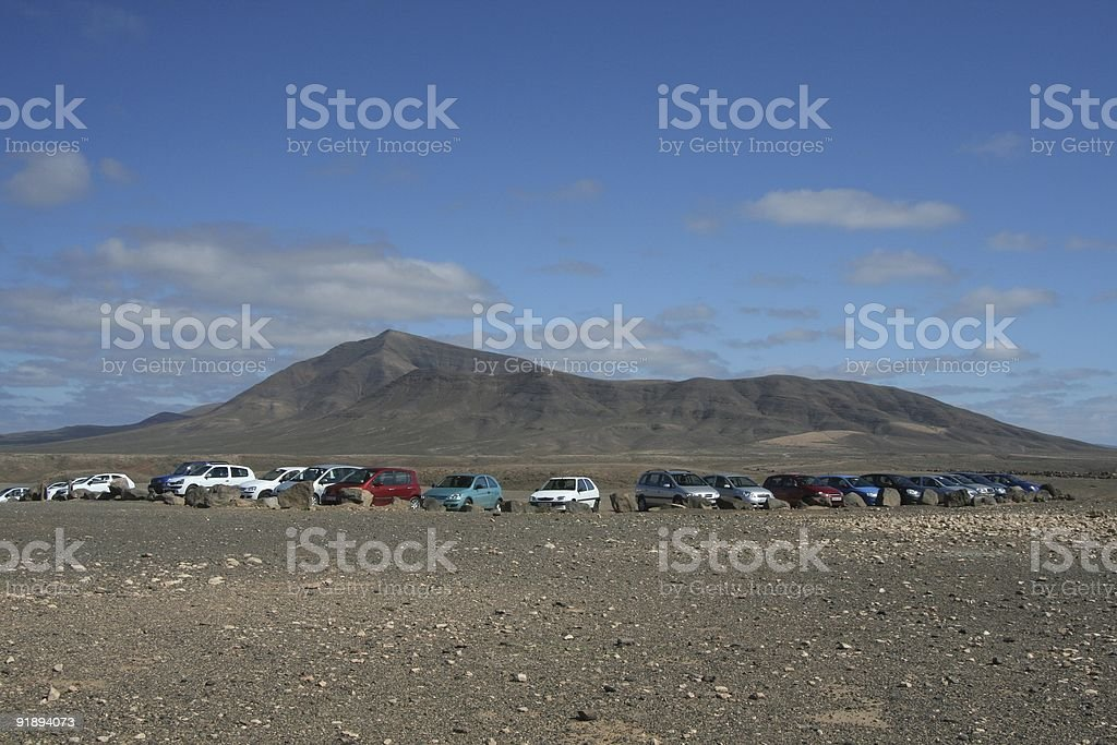 Cars before the Volcanos stock photo