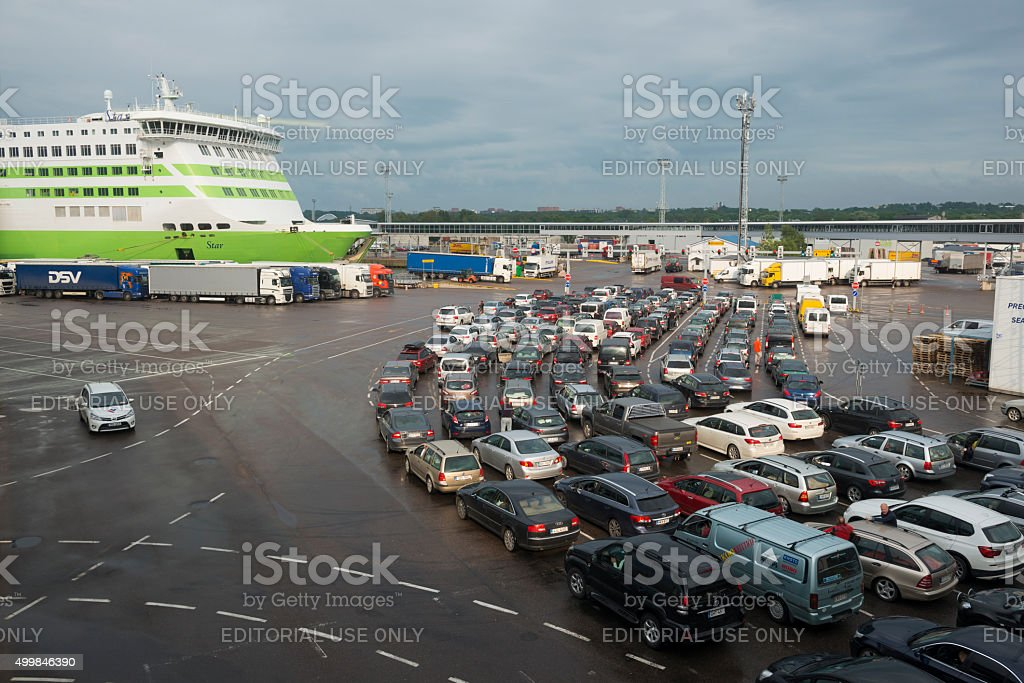 Cars boarding Tallink ferry MS Star in Tallinn stock photo