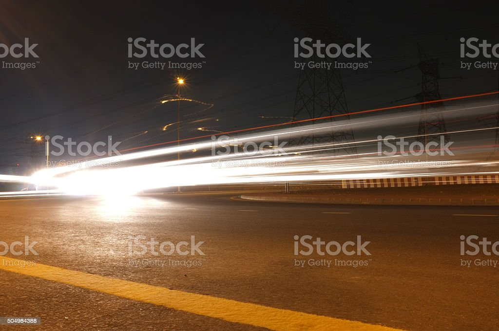 FAST Cars - Busy Road and Streak of Lights stock photo