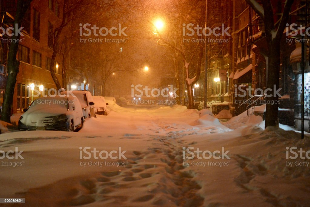 Cars covered in snow, New York during snow storm stock photo