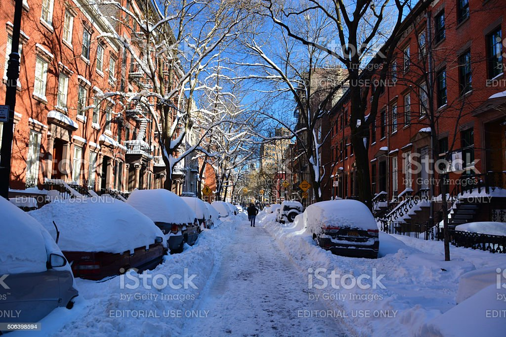 Cars covered in snow, New York following snow storm stock photo