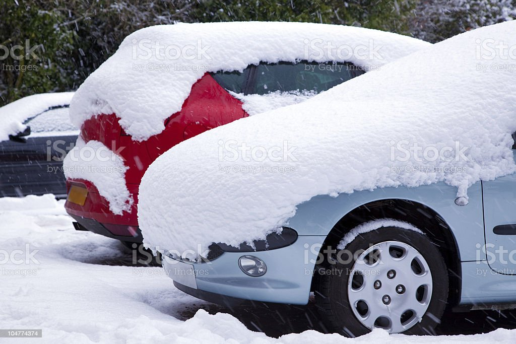 Cars covered in snow royalty-free stock photo