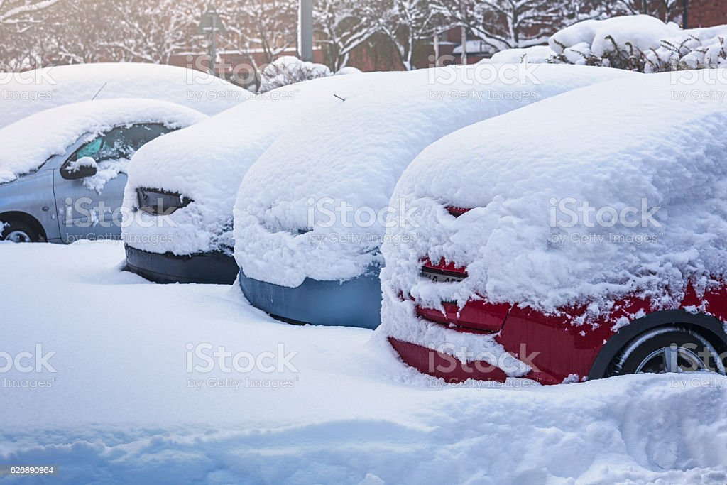 Cars covered in snow stock photo