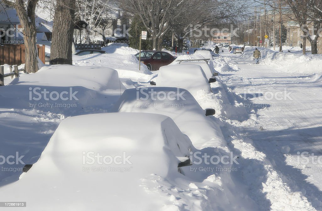 Cars covered with snow in an urban street royalty-free stock photo