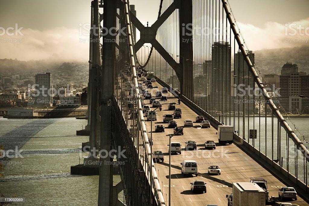 Cars Crossing the Bay Bridge royalty-free stock photo