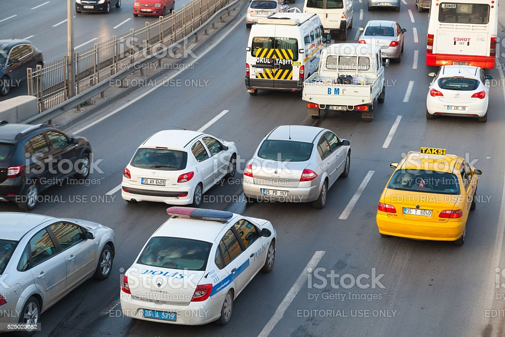 Cars drive on the main street of modern Izmir city stock photo