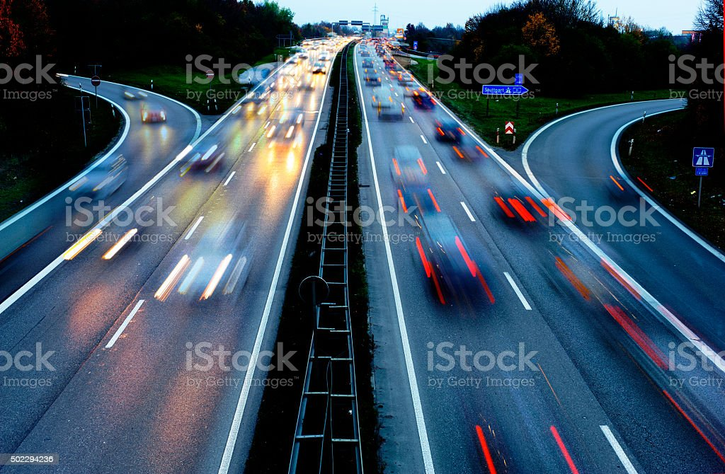 cars driving with high speed on german Autobahn stock photo