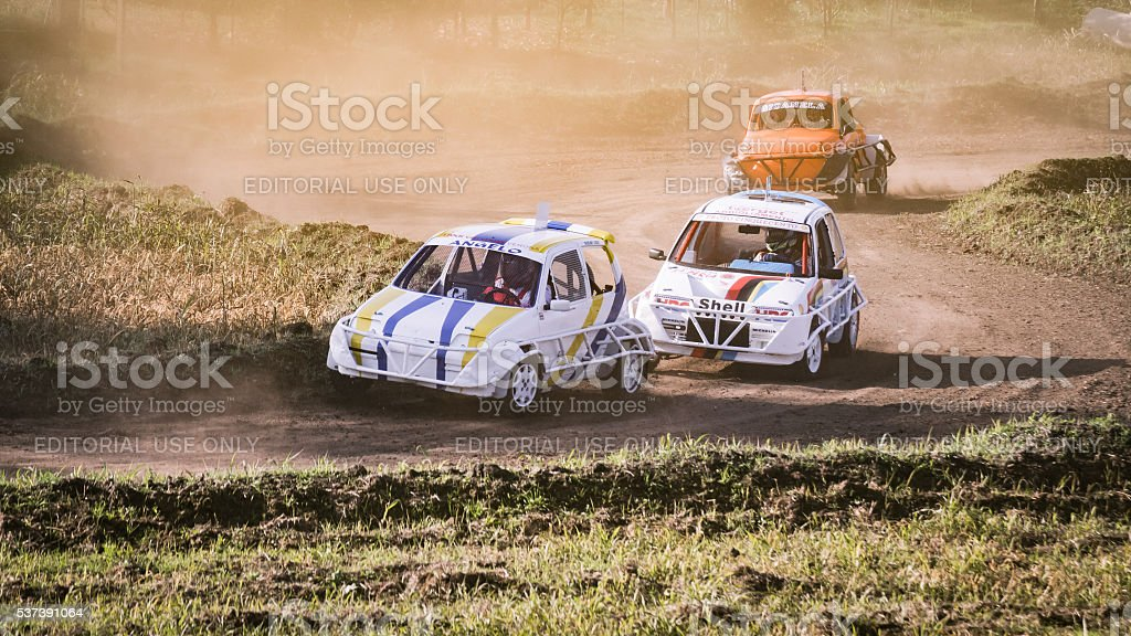 Cars during a 'stock car cross' free demostration. stock photo