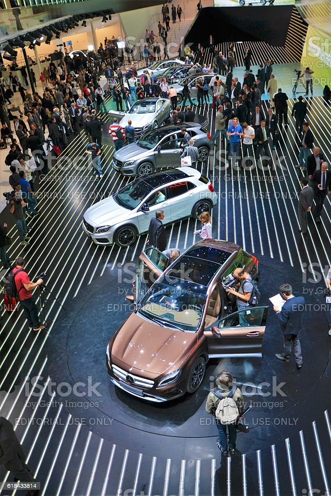 Cars exposition on the motor show stock photo