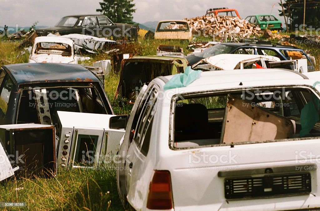 Cars for scrap stock photo