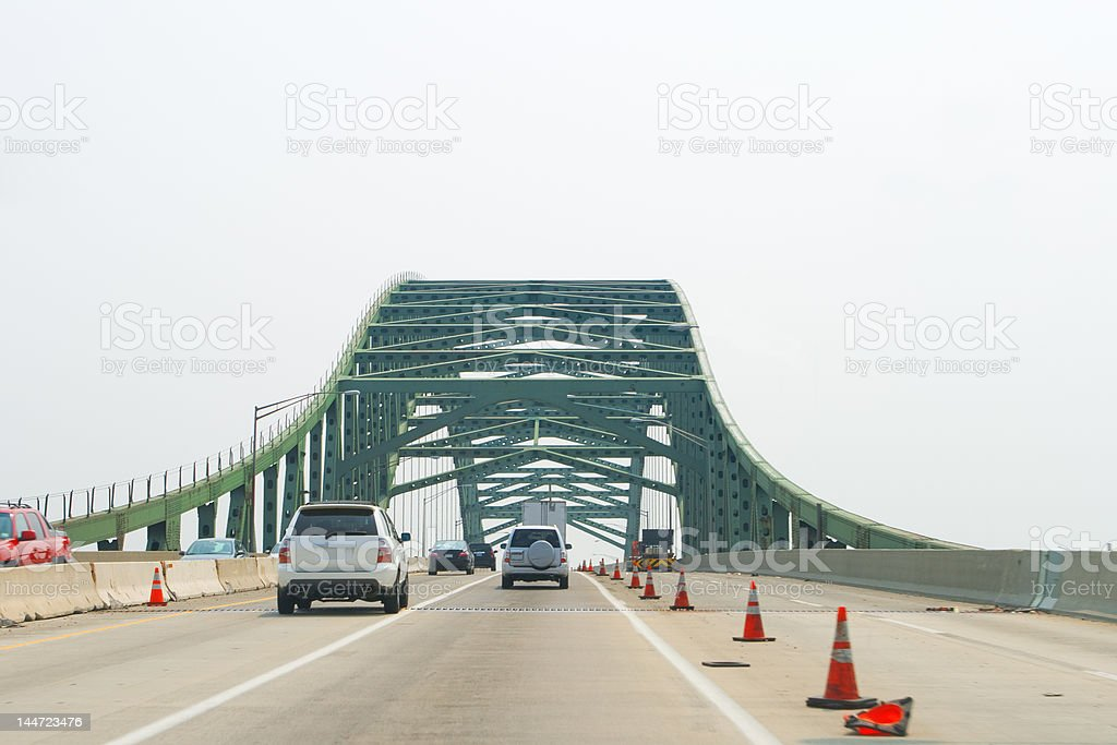 Cars Going over a Bridge Construction Zone royalty-free stock photo