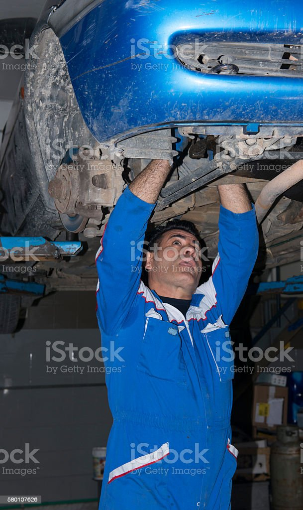 Cars in a dealer repair station stock photo