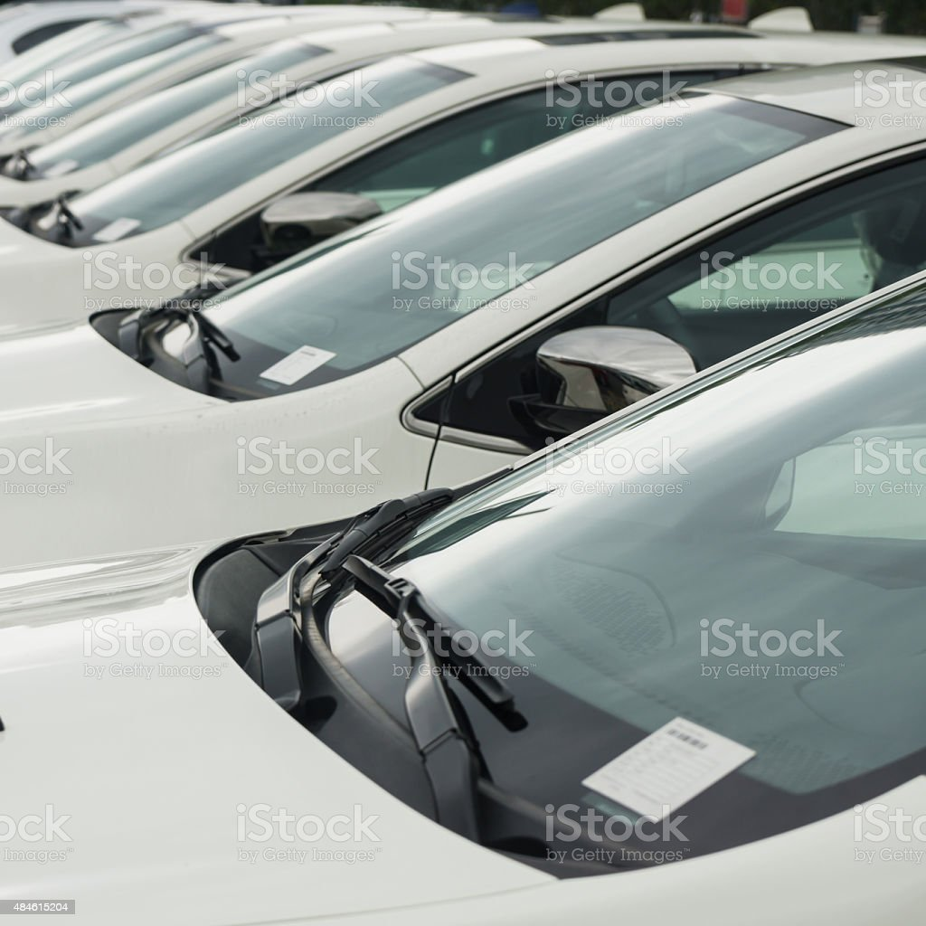 Cars in a row stock photo