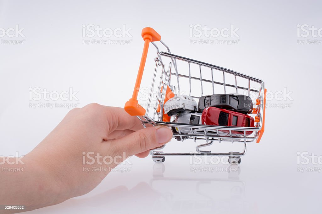 Cars in a shopping a cart stock photo