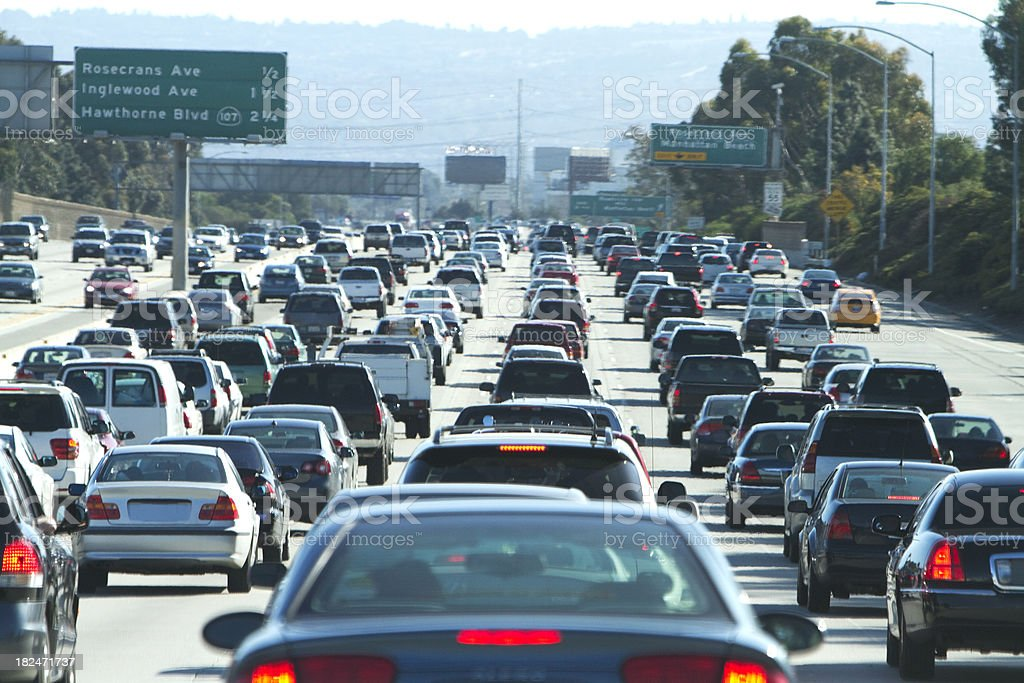 Cars In A Traffic Jam In Los Angeles California stock ...