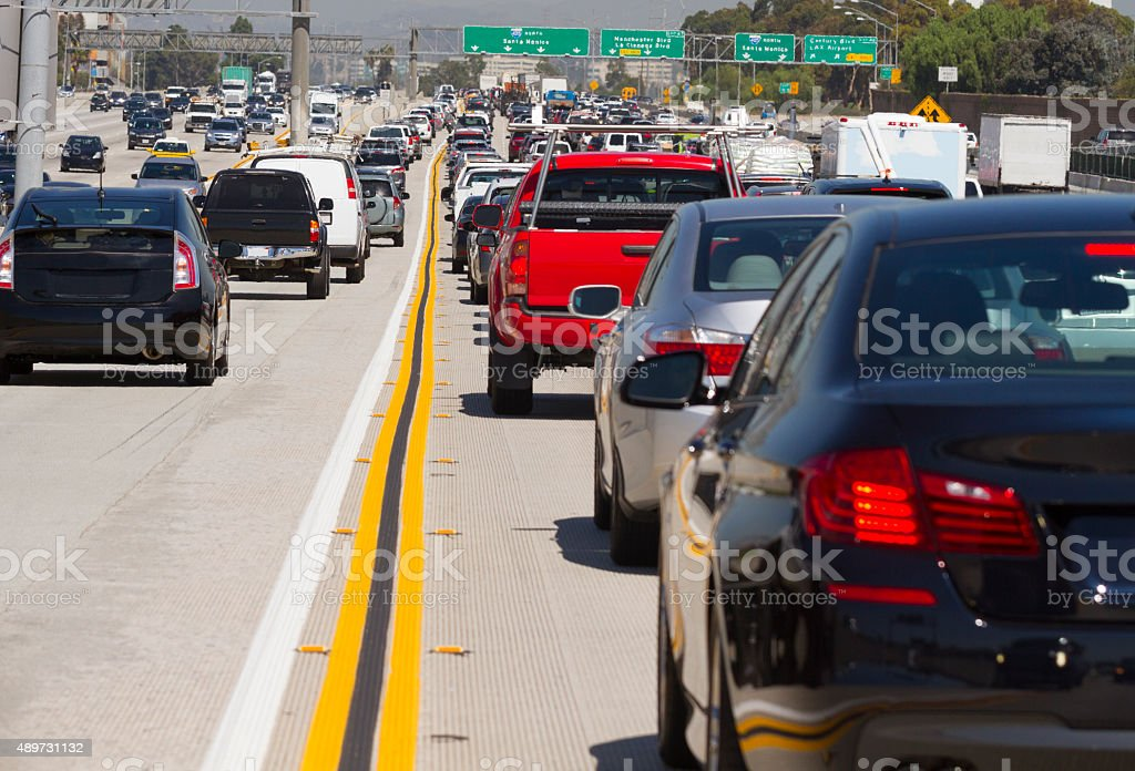 Cars in a traffic jam in Los Angeles, California. stock photo