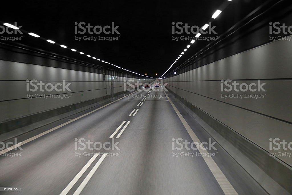 Cars in a tunnel on Oresund bridge between Sweden stock photo