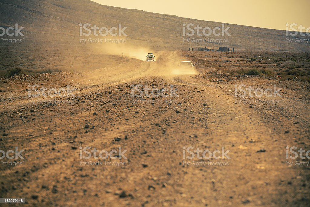 Cars in Country Road, Lanzarote, Canary Islands royalty-free stock photo