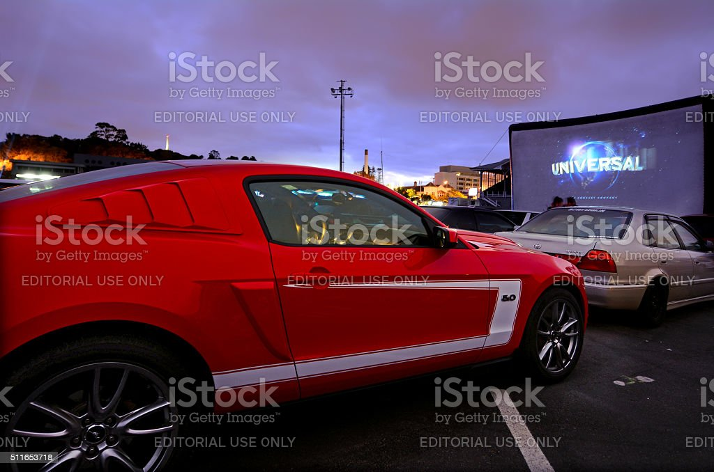 Cars in Drive-in Theater stock photo