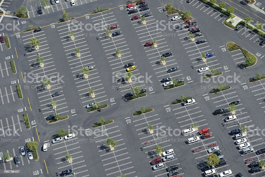 Cars in Parking Lot stock photo