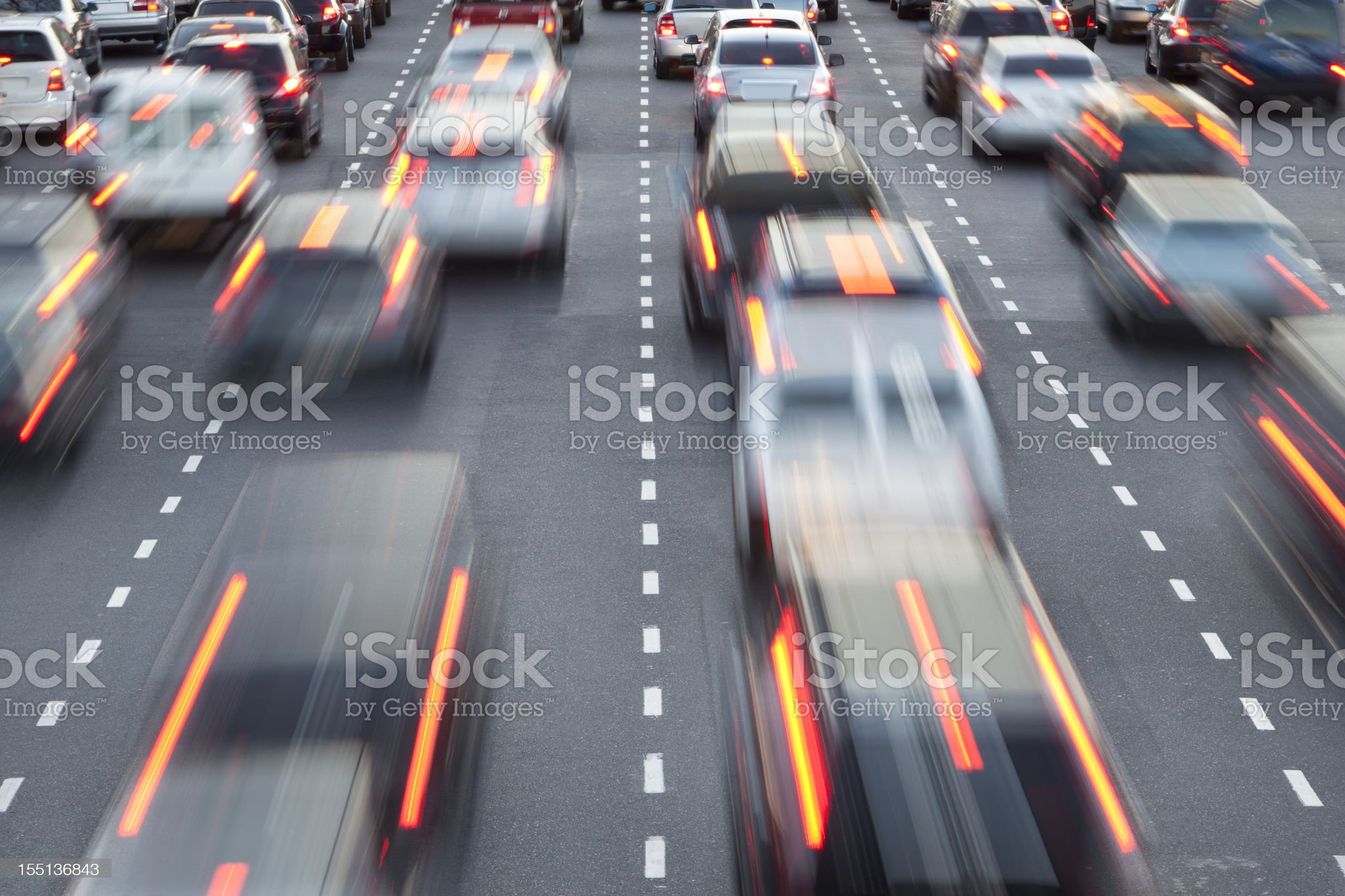 Cars in rush hour with traffic at night royalty-free stock photo