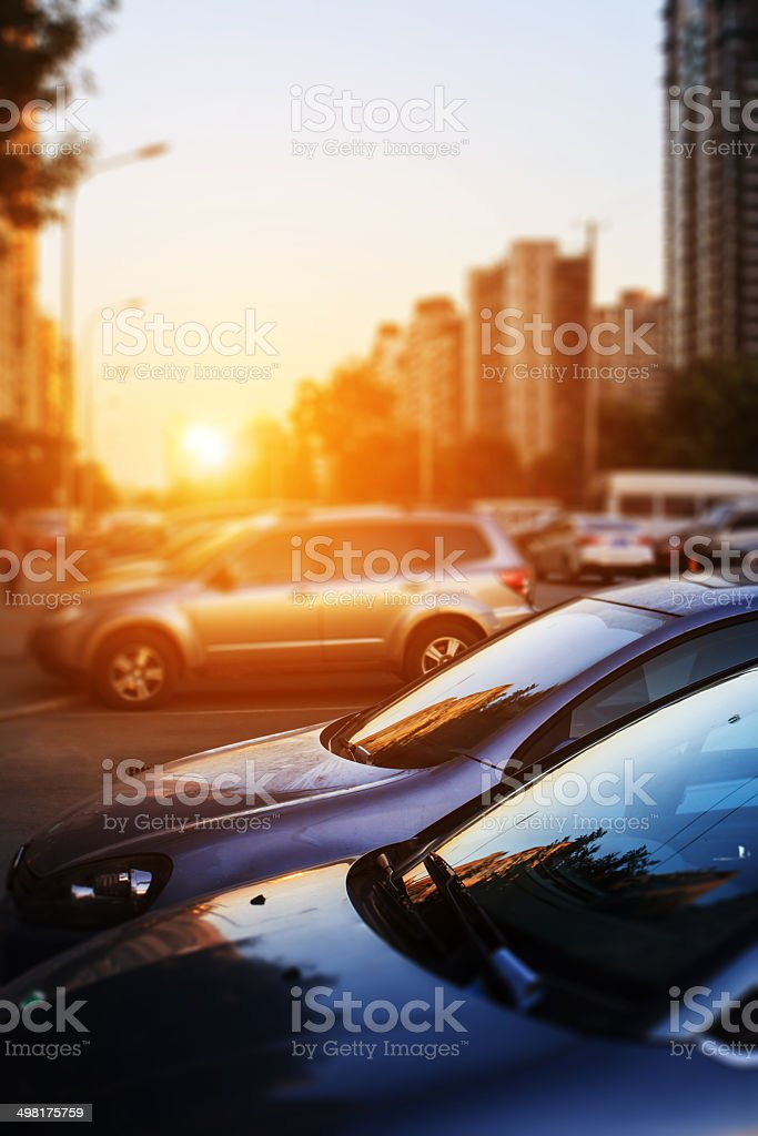 cars in street stock photo