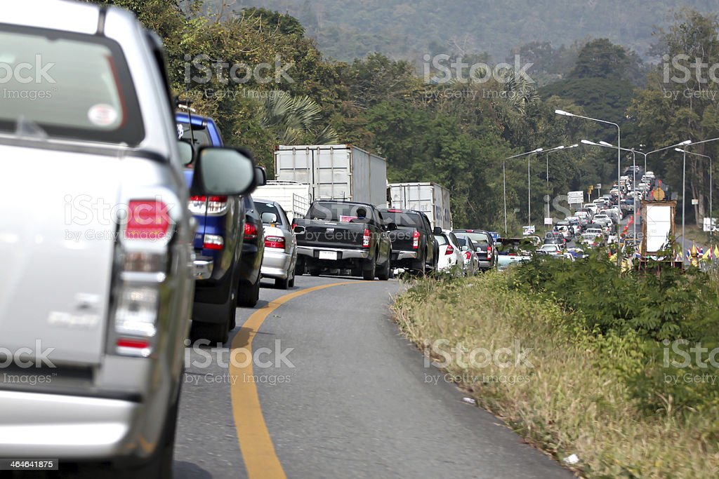 Cars in traffic jam. stock photo