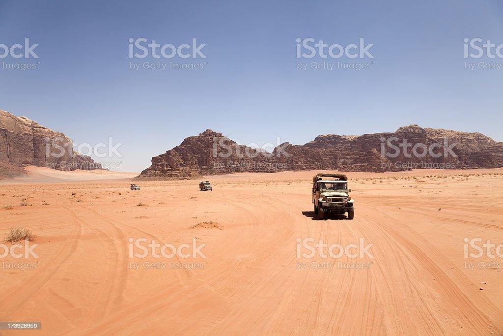Cars in Wadi Rum royalty-free stock photo