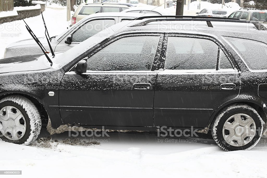 Cars in winter royalty-free stock photo
