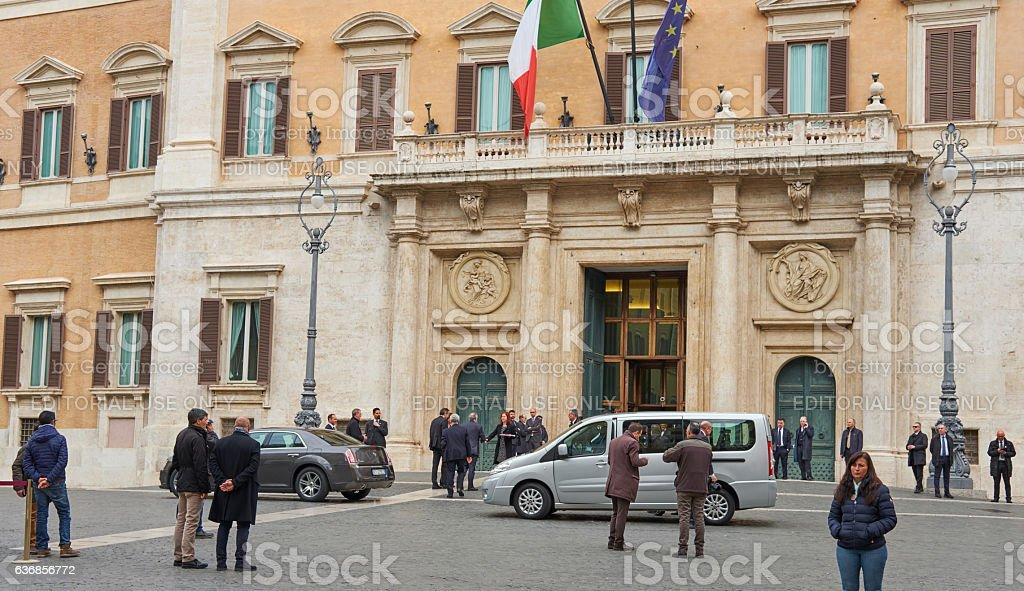 Cars leave politicians in Monte Citorio stock photo