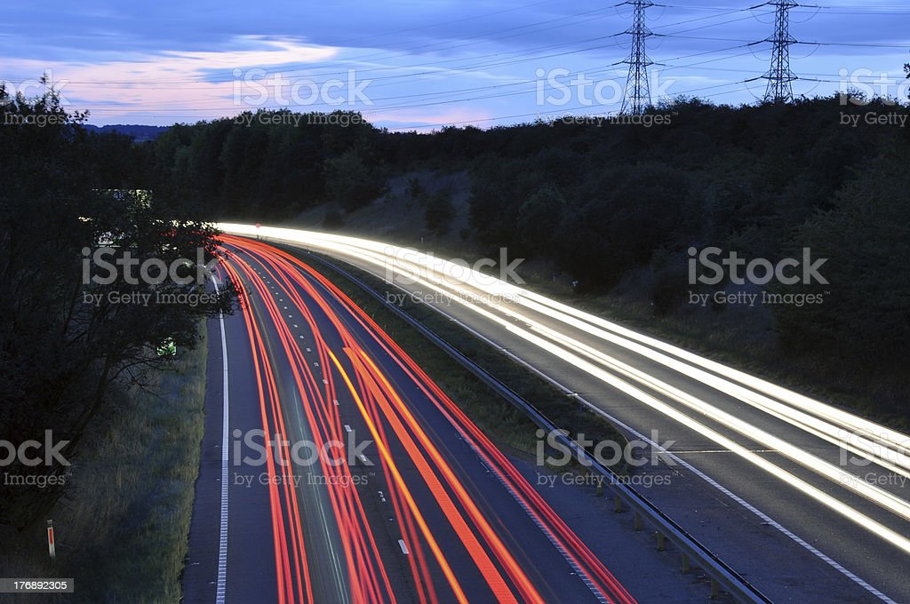 Cars lights on a highway stock photo
