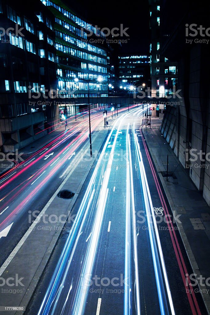 Cars lights on London street by night royalty-free stock photo