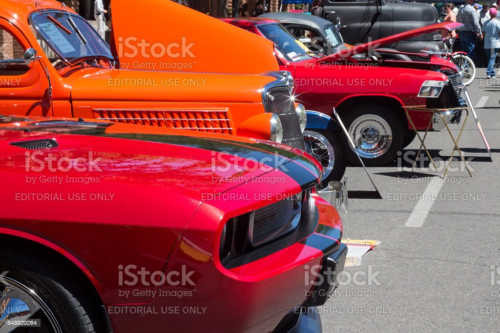 Cars lined up at a car show in Durango, Colorado stock photo