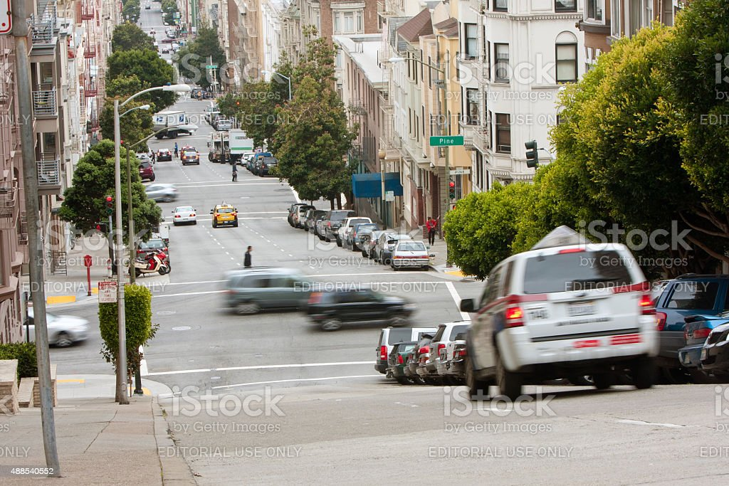 Cars Motion Blur Travelling Down Hilly San Francisco Streets stock photo