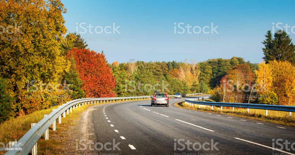 cars moving on a highway road stock photo