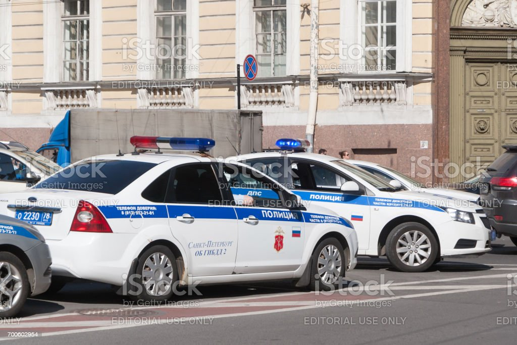 Cars of traffic police patrol traffic in St. Petersburg stock photo