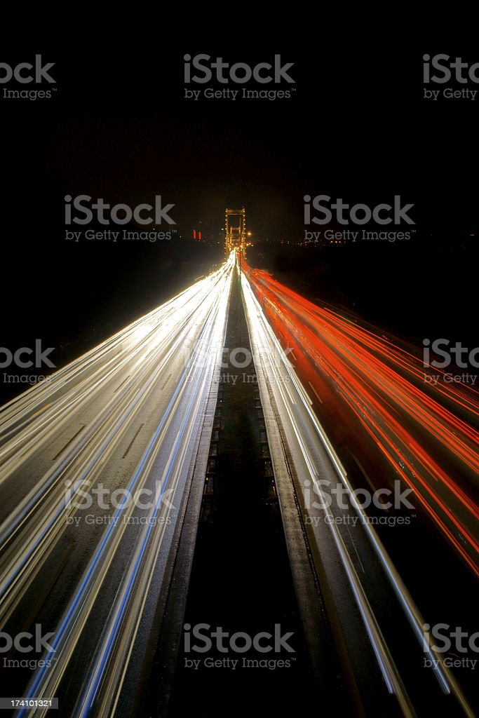 Cars on a Motorway From an Overpass Bridge royalty-free stock photo