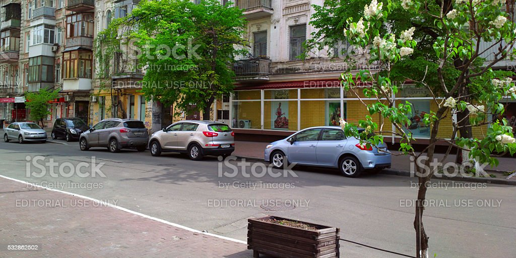 Cars on a street in Kyiv downtown. stock photo