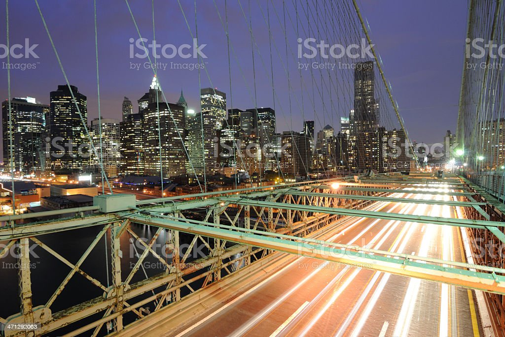 Cars on Brooklyn Bridge royalty-free stock photo