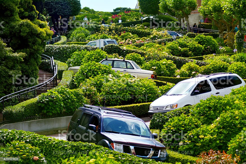 Cars on Lombard Street in San Francisco CA stock photo