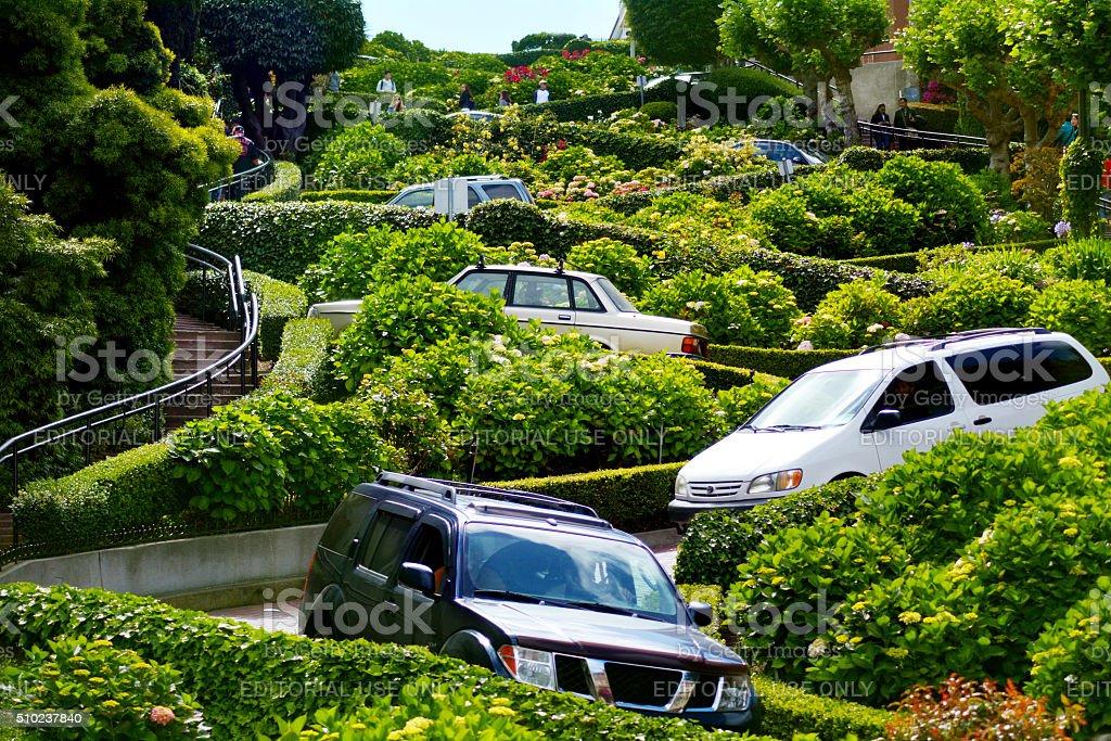 Cars on Lombard Street in San Francisco CA stock photo