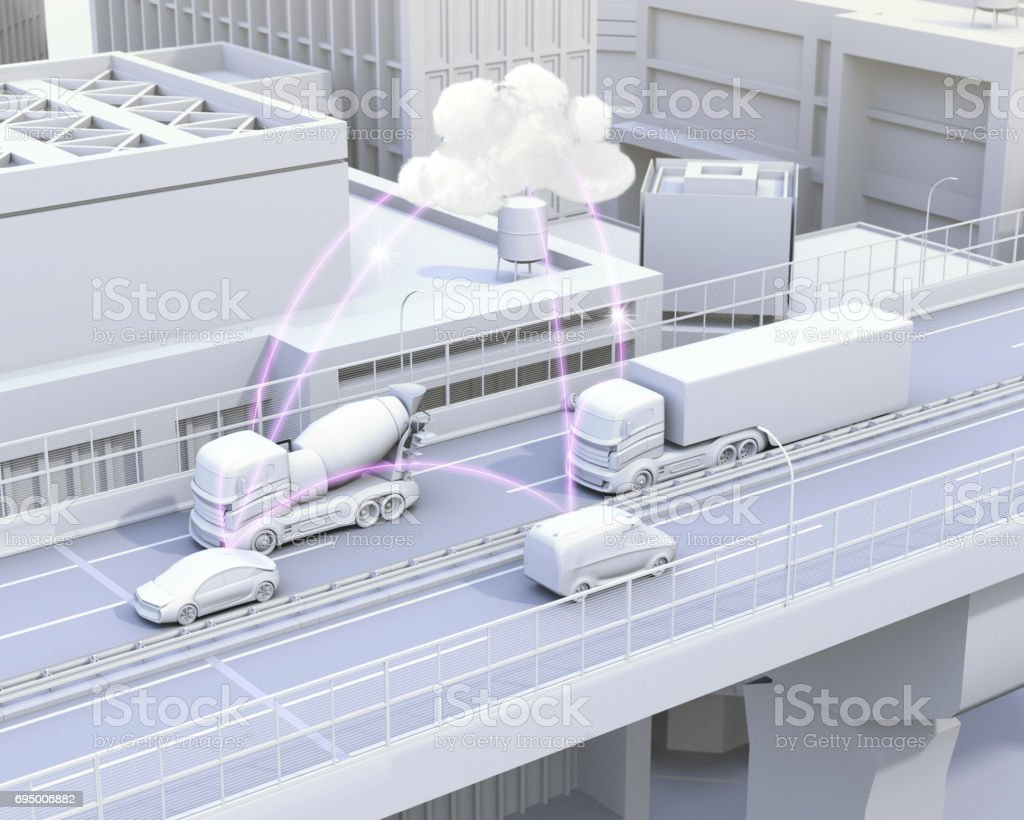 Cars on motorway sharing traffic information by computer network stock photo