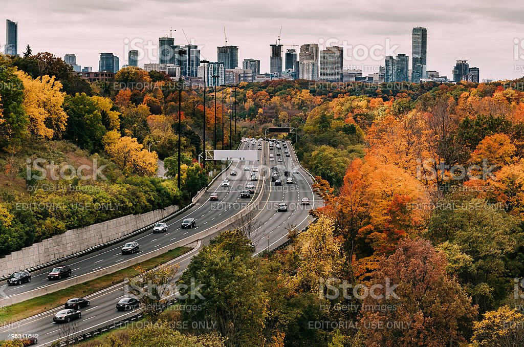 Cars on the Don Valley Highway in the Fall stock photo