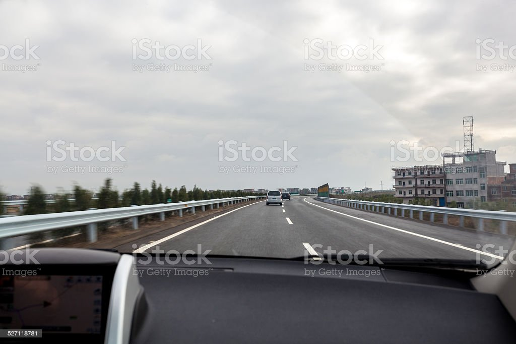 Cars on the highway stock photo